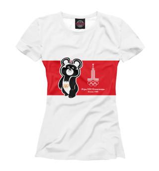 Футболка женская Олимпийский мишка и лого олимпиады 1980 года в Москве