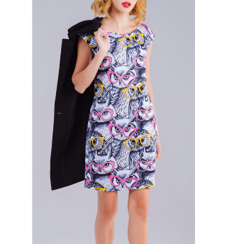 Платье без рукавов  Совы (4688)
