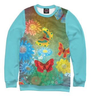 Одежда с принтом Цветочные мечты с бабочками.