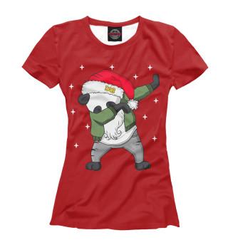 Футболка женская DAB панда дед мороз
