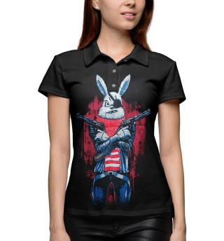 Поло женское Кролик с пистолетом