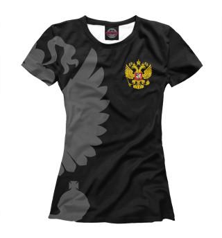 Футболка женская Герб России Серый на Черном