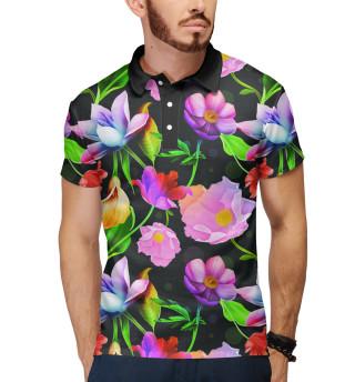 Поло мужское Яркие Цветы