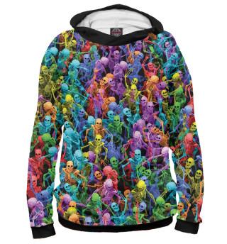 Худи женское Разноцветные скелеты