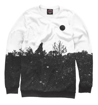Одежда с принтом Волк в звездном лесу