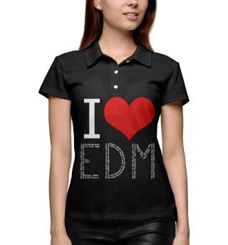 Поло женское I love EDM