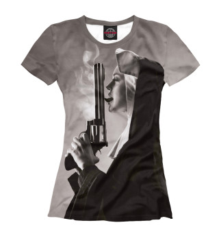 Футболка женская Nun with big gun