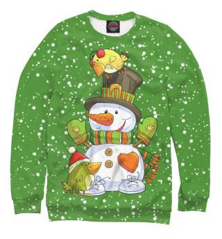 Одежда с принтом Снеговик с птичками