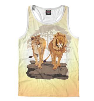 Майка борцовка мужская Лев с львицей