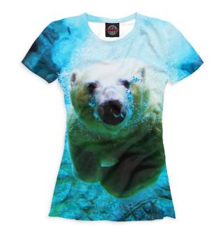 Футболка женская Белый медведь под водой