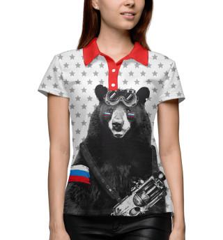 Поло женское Армейский медведь