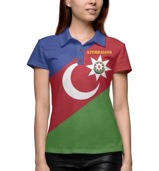 Поло женское Azerbaijan - герб и флаг