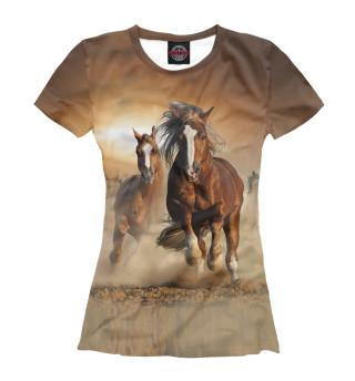 Футболка женская Бегущие лошади