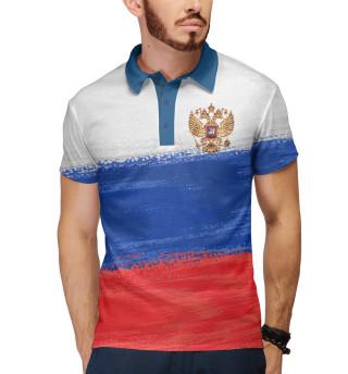 Поло мужское Флаг России с гербом