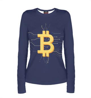 Лонгслив  женский Криптовалюта биткоин