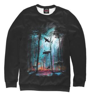 Одежда с принтом Акулы среди деревьев