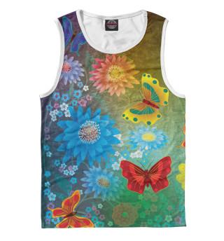 Майка мужская Цветочные мечты с бабочками.