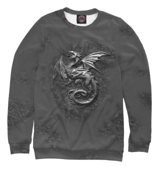 Одежда с принтом Стальной Дракон на скале.