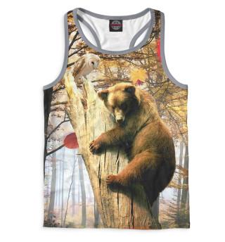 Майка борцовка мужская Медведь на дереве