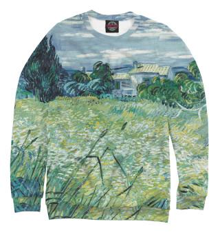Одежда с принтом Ван Гог. Зеленое пшеничное поле с кипарисом