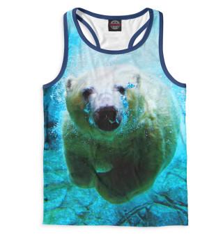 Майка борцовка мужская Белый медведь под водой