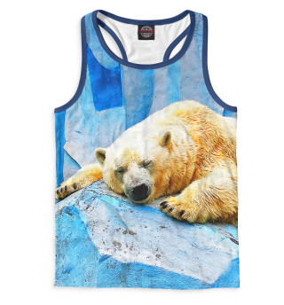 Майка борцовка мужская Спящий белый медведь