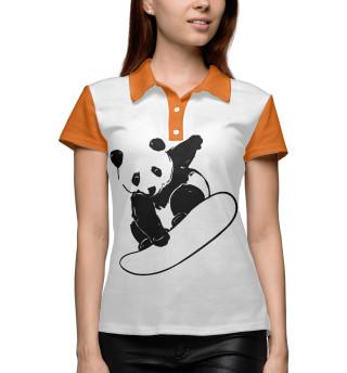 Поло женское Panda Snowboarder