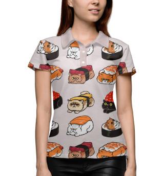 Поло женское Суши котики