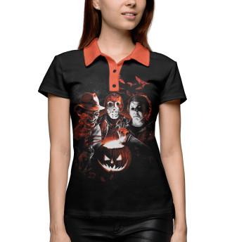 Поло женское Halloween Horror Team