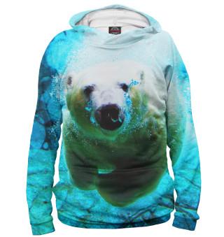 Худи женское Белый медведь под водой