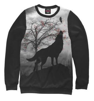 Одежда с принтом Силуэт волка
