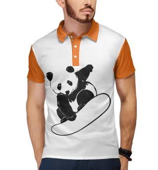 Поло мужское Panda Snowboarder