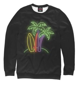 Одежда с принтом Пальмы и серфинг