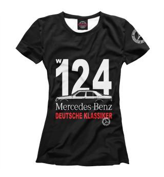 Футболка женская Mercedes W124 немецкая классика