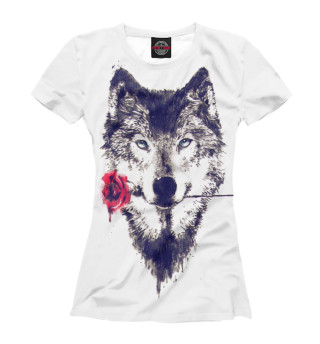 Футболка женская Волк с розой