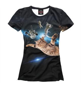 Футболка женская Летящие коты в космосе
