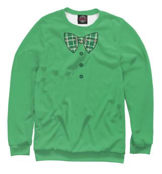 Одежда с принтом Зеленый галстук бабочка в клетку