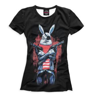 Футболка женская Кролик с пистолетом