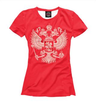 Футболка женская герб на красном