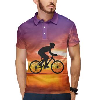 Поло мужское Велосипед на закате