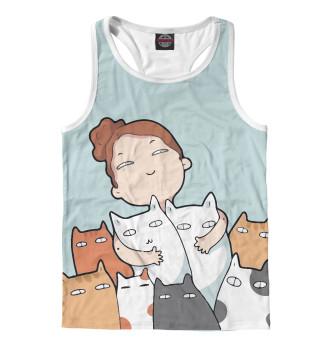 Майка борцовка мужская Девочка с котейками