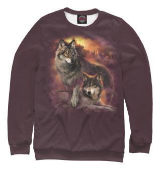 Одежда с принтом Пара волков