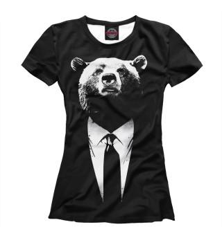 Футболка женская Медведь бизнесмен