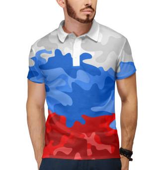 Поло мужское Камуфлаж флаг России