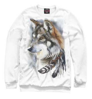 Одежда с принтом Волк с пером