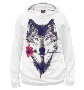 Худи женское Волк с розой
