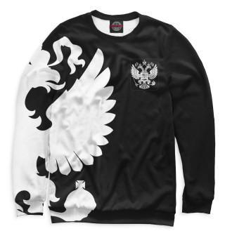 Свитшот  мужской Герб России / Белый на Черном