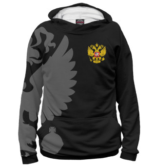 Худи женское Герб России Серый на Черном