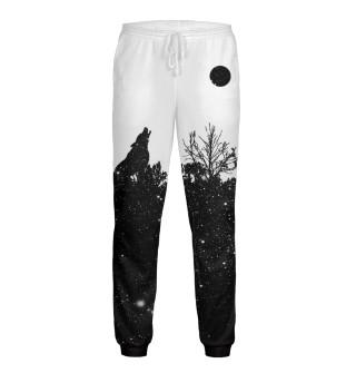 Штаны  мужские Волк в звездном лесу