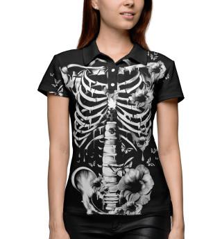 Поло женское Floral Skeleton